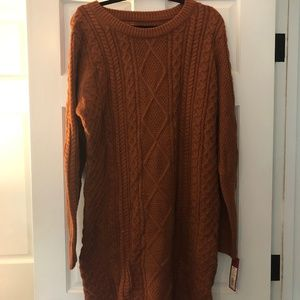 Burnt orange knit sweater cable dress